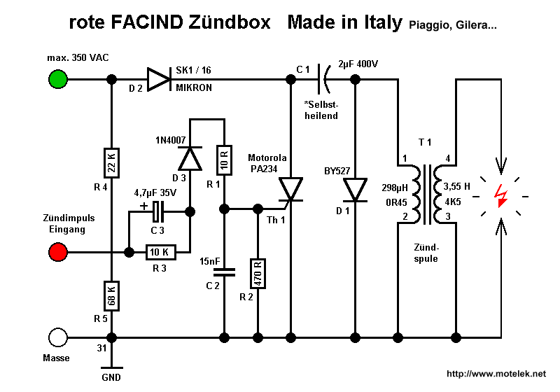 I think the correct schematic for the vespa electronic ignition CDI unit is this one. sabber. sexidol.
